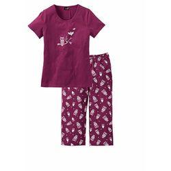 Piżama z krótkim rękawem i spodniami 3/4 bonprix jeżynowo-biały