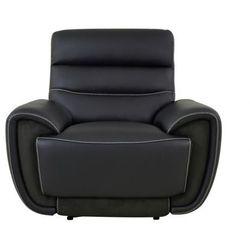 Skórzany fotel z funkcją relaks COSMY ze skóry z elementami z mikrobifry - Czarna