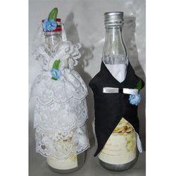 Ubranka na butelkę wódki - Koronka niebieski