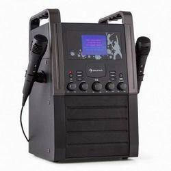 Auna A8B-V2 BK zestaw karaoke odtwarzacz CD AUX 2 x mikrofon czarny