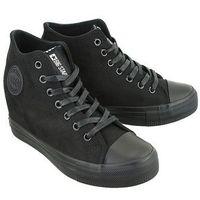 Damskie obuwie sportowe, BIG STAR BB274090 czarny micro, trampki, sneakersy damskie - Czarny