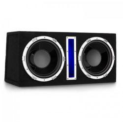 """Auna Basswaver X12L aktywny głośnik samochodowy niskotonowy 2x30cm (12"""")LED"""