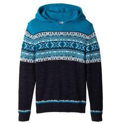 Sweter chłopięcy dzianinowy z kapturem bonprix antracytowy melanż - turkusowy