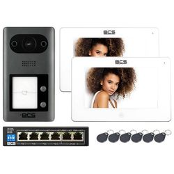 """2-rodzinny Zestaw wideodomofon IP BCS-PAN2401G-S 2x Monitor 7"""" BCS-MON7300W-S + 6 breloki"""