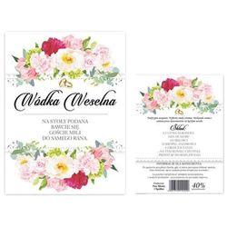 """Etykiety na butelkę """"Wódka Weselna kwiaty polne"""", dwustronna, 12,5x9,5 cm, 50 szt"""