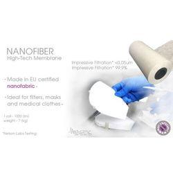 Specjalistyczna nanowłóknina medyczna do filtrów, maseczek, odzieży 1000mb z filtracją 0,03um NANOTECHNOLOGIA