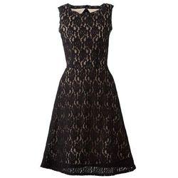 Krótka sukienka koronkowa bonprix czarno-jasnobrązowy