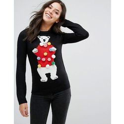 Brave Soul Novelty Polar Bear Jumper With Pom Poms - Black