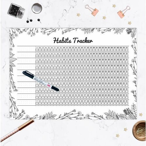 Tablice szkolne, Tablica suchościeralna Habits tracker 478