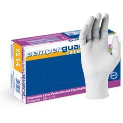 Lateksowe rękawice ochronne Semperguard, pudrowane, białe 100 szt - roz. XS
