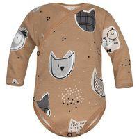 Body niemowlęce, Body kopertowe niemowlęce z długim rękawem Beżowy Zwierzak - Dolce Sonno