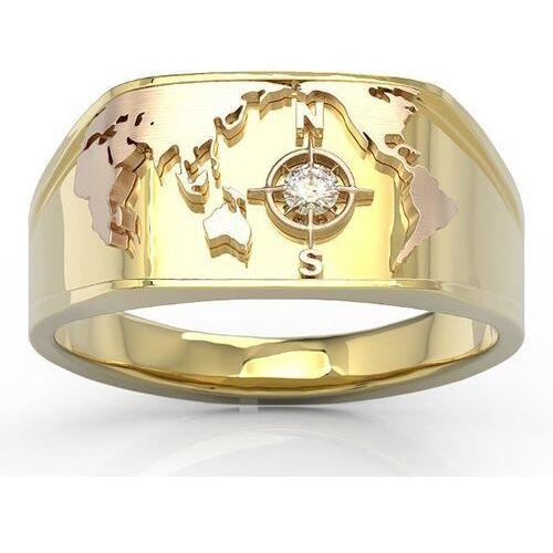 Sygnety, Sygnet morski z żółtego i różowego złota z brylantem sj-1406zp