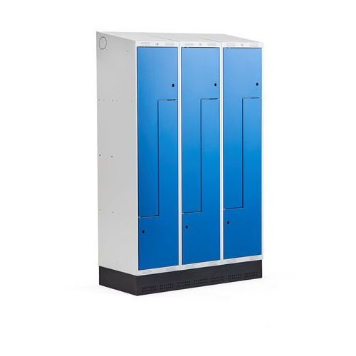 Szafki do przebieralni, Szafka ubraniowa typu Z, CLASSIC, cokół, 3 moduły, 6 drzwi, 2050x1200x550 mm, niebieski