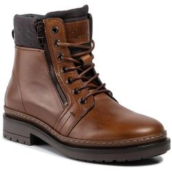 Trapery TOMMY HILFIGER - Textured Leather Mix Boot FM0FM02418 Cognac 606