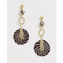 ASOS DESIGN earrings with rope wrapped shapes and hammered detail in gold tone - Gold
