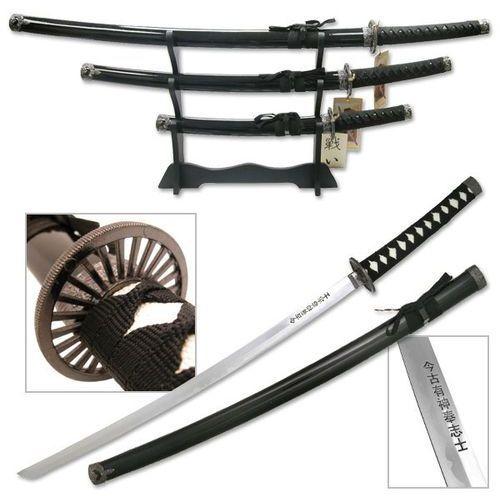 Broń treningowa, ZESTAW MIECZY SAMURAJSKICH BUSHIDO, ZE STOJAKIEM (SW-68B4)