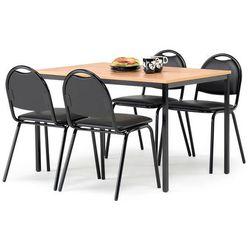 Zestaw mebli do stołówki, stół 1200x800 mm, buk + 4 krzesła, skai/czarny