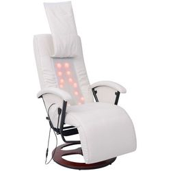 vidaXL Fotel masujący do masażu sziatzu 50% PU biały Darmowa wysyłka i zwroty