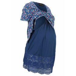 Tunika ciążowa i do karmienia piersią, z koronką bonprix kobaltowy w kwiaty
