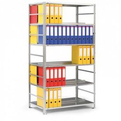 Regał na segregatory COMPACT, 8 półek, 2550x1250x600 mm, szary, podstawowy