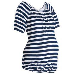 """Shirt ciążowy z dekoltem """"carmen"""" bonprix ciemnoniebiesko-biel wełny w paski"""