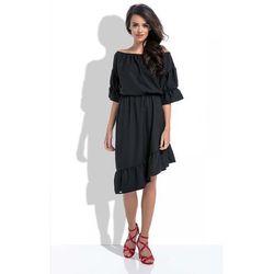 Czarna Asymetryczna Sukienka Hiszpanka z Rękawami do Łokcia