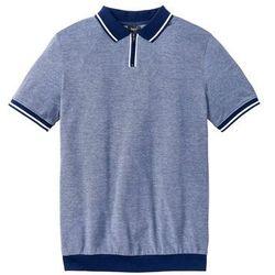 Shirt polo ze specjalnym krojem na wys. brzucha bonprix kobaltowy melanż