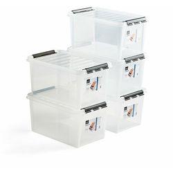 Pojemnik plastikowy LEE z pokrywą, 47 L, 5 szt., 590x390x310 mm, przezroczysty