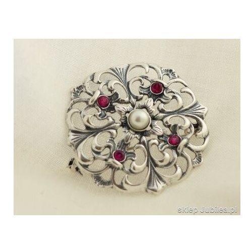 Pozostała biżuteria, Dorota - srebrna rozeta perła i rubiny