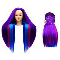 Pozostałe salony fryzjerskie i kosmetyczne, Główka treningowa fryzjerska Iza włos termiczny 70cm Fioletowy Różowy Błękitny Niebieski