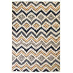 Nowoczesny dywan w zygzak, 160x230 cm, brązowo-czarno-niebieski