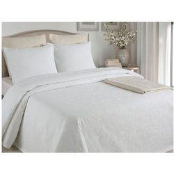 Pikowana narzuta na łóżko CHAMBORD 220 × 260 cm + 2 poszewki 60 × 60 cm – Kolor biały