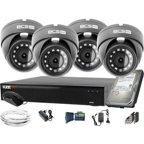 Zestawy monitoringowe, ZM12024 Zestaw do monitoringu Rejestrator LV-XVR44SE-II 4x BCS Kamera kopułowa FullHD Dysk 1TB akcesoria