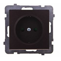 Gniazdo pojedyncze Ospel Sonata GP-1RP/m/40 z przesłonami torów prądowych czekoladowy metalik