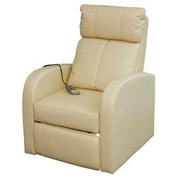 vidaXL Elektryczny fotel do masażu z pilotem, kremowo-biały. Darmowa wysyłka i zwroty