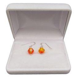 Kolczyki srebrne okrągłe pomarańczowe kryształy o dłuości 2,5 cm SKK09