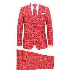 Świąteczny garnitur męski z krawatem, 2-częściowy, 50, czerwony