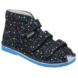 Kapcie profilaktyczne buty DANIELKI T125L T135L Kropki Blue - Granatowy   Niebieski   Multikolor