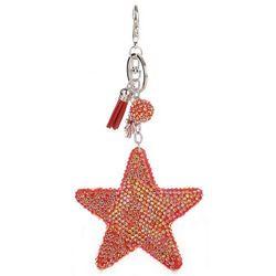 Brelok do Torebki Gwiazda z Kryształkami Super Star Czerwona Akcesoria do Torebek (kolory)