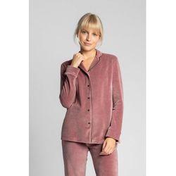 LA007 Welurowa koszula od piżamy z kołnierzykiem - brudny róż