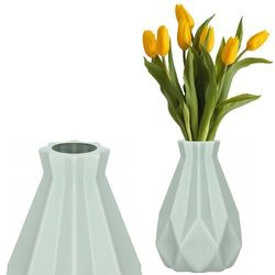 Wazon 20cm nietłukący na kwiaty do salonu, kuchni miętowy nowoczesny