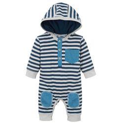 Pajacyk niemowlęcy, bawełna organiczna bonprix ciemnoniebiesko-srebrny w paski