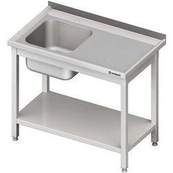 Stół ze zlewem jednokomorowym z lewej strony i półką, spawany 1000x600x850 mm | STALGAST, 614106