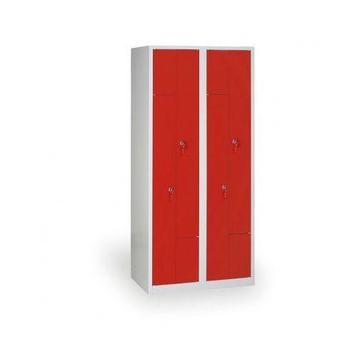 Szafki do przebieralni, Spawana Szafka ubraniowa Z, korpus szary, drzwi czerwone zamek obrotowy