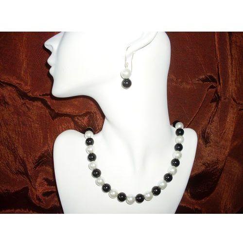 Naszyjniki i korale, N-00010 Naszyjnik z perełek szklanych, czarnych i białych promocja!