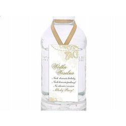Zawieszki na butelki weselne z wódką biało - złote - 25 szt.