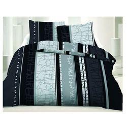 Pościel 100% bawełny NAYA - 220x240 cm + 2 poszewki na poduszkę 65 x 65 - Kolor szary i czarny