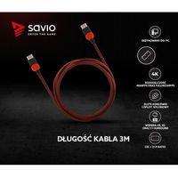 Kable video, Kabel HDMI v2.0 Savio GCL-04 3,0m, dedykowany do PC, gamingowy, OFC, 4K czerwono-czarny, złote końcówki