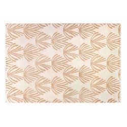 Dywan LYSA w stylu art deco – polipropylen – 160 × 230 cm – kolor beżowy i złoty