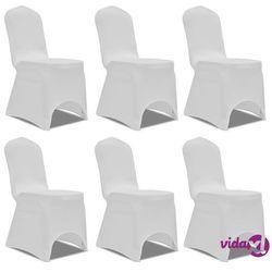 vidaXL Białe elastyczne pokrowce na krzesła, 6 szt. Darmowa wysyłka i zwroty
